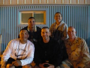 Me and my team outside our PCB, Camp Patriot